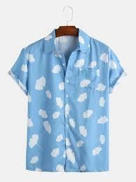 <b>Mens</b> Printed Shirt - Blue-Leaf <b>Pattern</b> Printed <b>Mens</b> Shirts ...