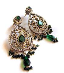green chandelier earrings filigree gold earrings crystal earrings indian jewelry prom earrings wedding jewellery by taneesi