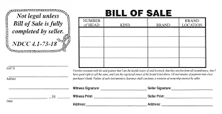 bill of sale north dakota stockmen s association bill of sale form