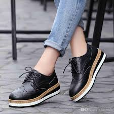 2019 new arrival womens fashion brogues beige black cowskin upper heel height 4cm female leather casual shoes dress platform shoes for women womens sandals