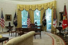 west wing oval office. the oval office of white house is seen after renovations including new wallpaper august 22 west wing