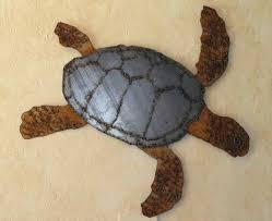 sea turtle sheet metal wall art