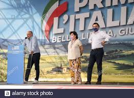 ROME, ITALY - 19 JUNE, 2021. Enrico Michetti, center-right candidate for  mayor of Rome, Simonetta Matone and Matteo Salvini during the Lega  demonstration in Piazza Bocca della Veritˆ. Credit: Andrea Petinari /
