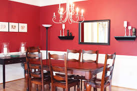 Great Traditional Red Dining Room With Teak Wood Dining Table Sets Added  Square Wall Mirror Dining Decors In Small Space Interior Ideas