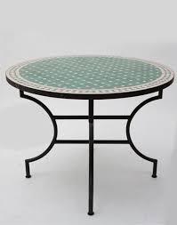 moroccan garden furniture. moroccan round mosaic garden table in green outdoor furniture