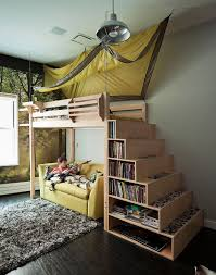 cool bookshelves for teens displaying wooden loft bed with cool tents and storage bookshelf built awesome black painted