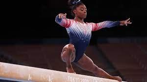 bronzen oefening van Simone Biles ...