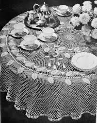 instant pdf lovely heirloom lace crocheted round tablecloth vintage crochet pattern garland of leaves pattern