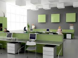 modern minimalist office. Modern Minimalist Office Interior Using Green Table Also Unique Cubical Ceiling Ornament And Grey Painted Wall