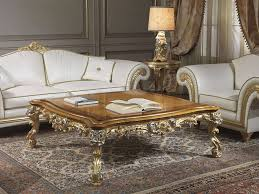 Classic living room Imperial in white leather with table