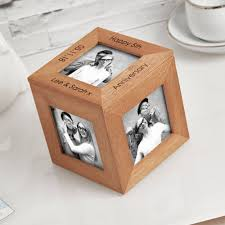 5th anniversary wood photo cube