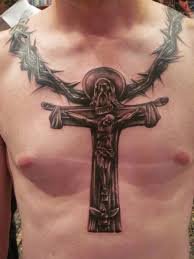 cross chest tattoo designs. Beautiful Cross Mens Chest Tattoo With Jesus On A Cross To Tattoo Designs S