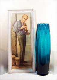 huge italian vintage glass floor vase label
