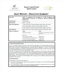 Sample Executive Summary Template Cool Audit Summary Report Template Hazstyleco