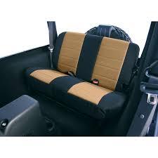 rugged ridge 13282 04 fabric rear seat covers tan 03 06 jeep wrangler tj