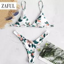 Zaful Swimwear Size Chart Zaful Swimsuit For Women Bikini Bra Leaf Print High Leg Bikini Set Padded Biki Summer Swimwear Beach Wear Swimming Suit Body Suit Hollow Out