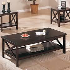 3 piece table set. 3-Piece Dark Brown Finish Living Room Table Set 3 Piece