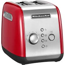 kitchenaid 5kmt221ber 2 slice toaster with motorised lower and lift function empire red