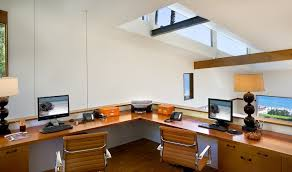 malibu architectural trendy home office photo in los angeles with a built in desk alaska black oak office desk