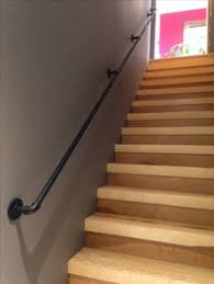basement stairs railing. Steel Handrail 3/4 Inch. Bought Pipe And All Hardware At Home Depot.  Threaded With Manuel Threaded From Local Rental Shop (12$ A Day) Basement Stairs Railing E