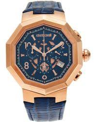 roberto cavalli venom mens stainless steel and leather chrono roberto cavalli rv1g003 rose gold tone blue watch lyst