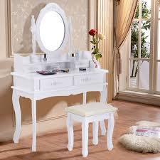 costway white vanity jewelry makeup dressing table set bathroom w stool 4 drawer mirror wood desk walmart