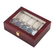 vova practical 10 grids wooden watch box jewelry display collection storage case