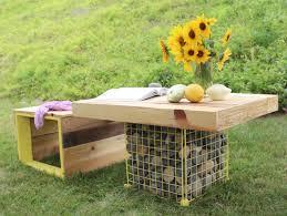 diy outdoor furniture. DIY Pallet Wooden Bench And Gabion Table (via Www.apieceofrainbow.com) Diy Outdoor Furniture