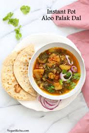 instant pot aloo palak dal ed potato spinach lentils made in a pressure cooker or