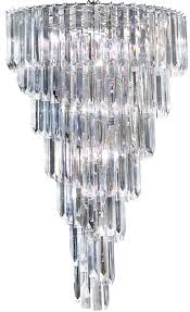 sigma chrome 9 light spiral chandelier with clear acrylic prisms