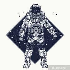 Fototapeta Vinylová Astronaut Tetování Kosmonaut Ve Vesmíru Trojúhelníkové Stylu