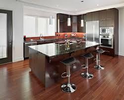 Dark Wood Floors In Kitchen Minimalist Dark Brown Oak Wood Floor In Kitchen Cream Granite
