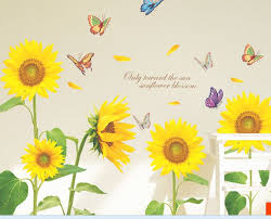 pleasurable sunflower wall decor stickers for living room home art tra com kitchen metal