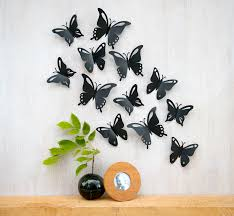 3d Wall Art Butterfly Wall Art Pop Up Black Butterflies 3d Wall Decor Set