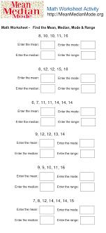 Math Worksheet Activity ( Find the Mean,Median, Mode, Range #2 ...