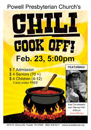 chili supper flyer chili cook off feb 23 at 5pm powell presbyterian church
