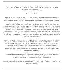 Ejemplo De Cartas De Recomendacion Laborales Recomendaciones Chef Privado