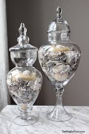 Apothecary Jars are great way to add color, texture and seasonal decor to a  room