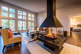 modern homes center fireplace Custom Cedar Homes House Plans.