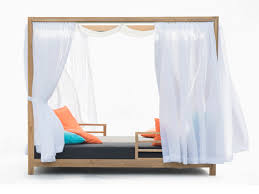 belize modern teak luxury outdoor furniture design daybed curtain roof grey cushion quickdry hotel hospitality patio