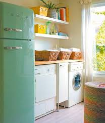 simple laundry room design with storage furniture