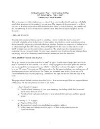 Critical Analysis Essay Sample Apa Format Applydocoumentco