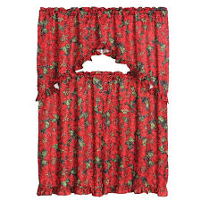 3 piece decorative kitchen curtain set ruffled swag valance tiers red poinsettia