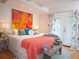 White Master Bedroom With Bold Bursts Of Color