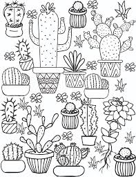 Small Picture Cactus and Succulent Printable Adult Coloring Pages