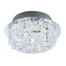 cool ice halogen flush ceiling fitting in chrome finish with round and square ice cube glass