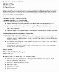 Construction Laborer Resume Sample Resume Template For Construction Worker Expensive General
