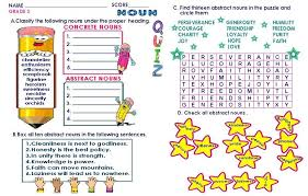 GRAMMAR WORKSHEETS: GRADE 3 - ABSTRACT/ CONCRETE NOUNS