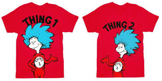dr seuss thing 1 or thing 2 red t shirt