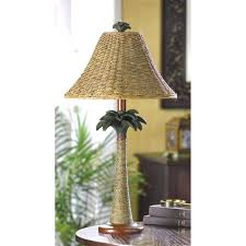 rattan table lamp woven wicker grass rattan palm tree tropical bedside end table lamp rope shade rattan table lamp
